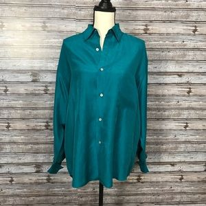 Moda INTL Teal Long Sleeve Silk Button Down Med